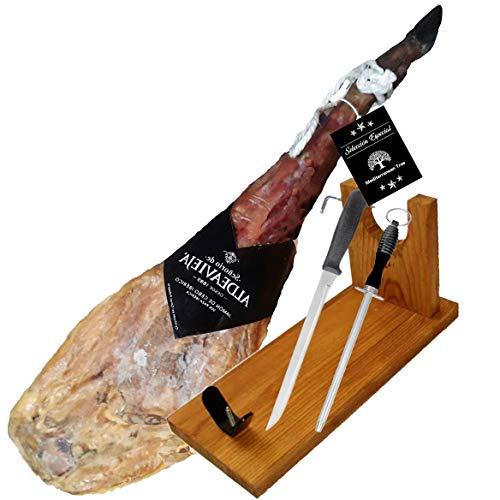 Jamon Iberico de Cebo 50% 8,5 Kg Aprox.- Origen Guijuelo + Set Jamonero + Cuchillo de Corte + Chaira