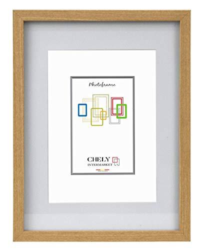 Chely Intermarket, Marcos de Fotos 30x40 cm | MOD-351 (Medida Interior con paspartú 21x30cm) (Haya) Paspartú para Foto Incluida | El Marco Queda al Nivel de la Pared.(351-30x40-1,45)