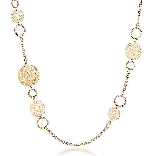 Collana lunga per donna, collana a catena albero della vita per bambina Collana in oro rosa o argento con cristallo (Placcato oro)
