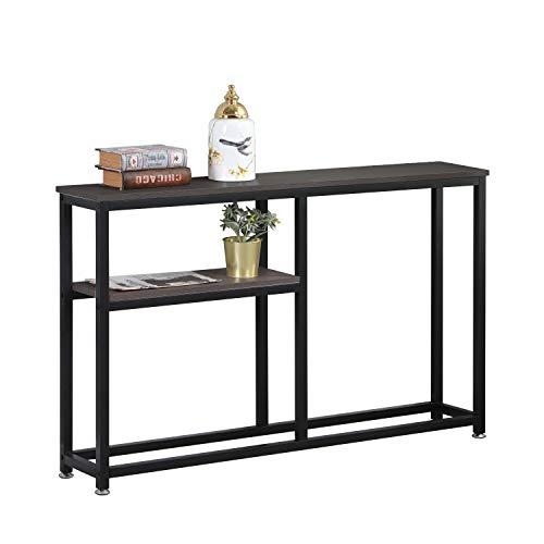 DlandHome Table Console 120 * 23 * 75cm Table dAppoint avec Étagère Rangement en Bois & Métal Pieds pour Salon/Couloir/Entrée,Brun Foncé & Noir