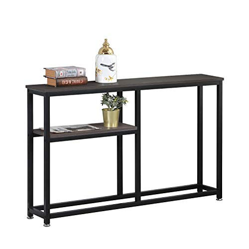 sogesfurniture Industrial Style Console Table Entryway Table with Shelf Storage, Stable Side End Table, for Hallway Entryway, Living Room, Bedroom, Easy Assembly, DX-122BR-BH