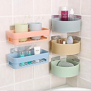 OBIXO ABS Plastic Multipurpose Kitchen Bathroom Wall Holder Storage Rack Corner Shelf(Combo Shelves)(Multicolor) (2 Bathro...