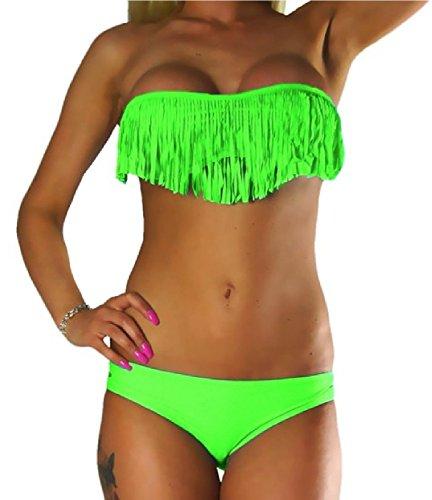 ALZORA Neckholder Damen Bikini Set in NEONGRÜN Neon Grün Fransen Tassel Fringe Bandeau Push Up Top und Hose, 20060 (M)