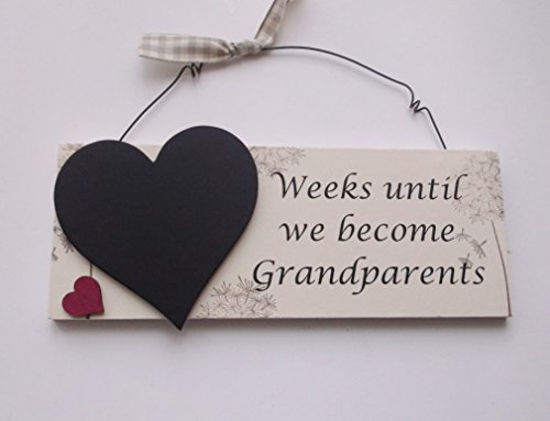 Weeks until we become Grandparents countdown chalkboard gift plaque