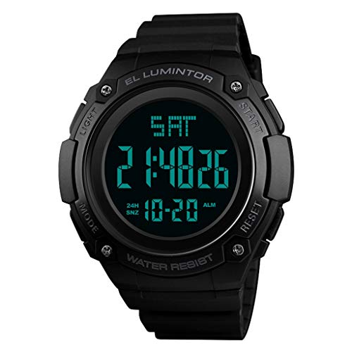 Reloj digital para hombre - Relojes deportivos para hombres a prueba de agua de 50 m, LED de cara grande y negro con alarma / Temporizador de cuenta regresiva / Hora doble / Cronómetro / 12 / 24H