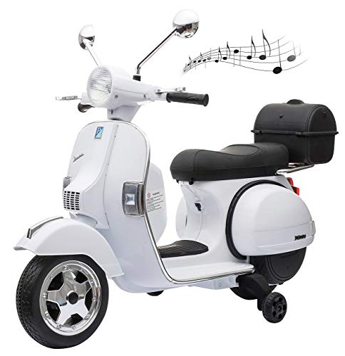 Playtastic Elektro Roller: Original Vespa-lizensierter elektrischer Kinder-Motorroller, LEDs, MP3 (Kinder Fahrzeuge)
