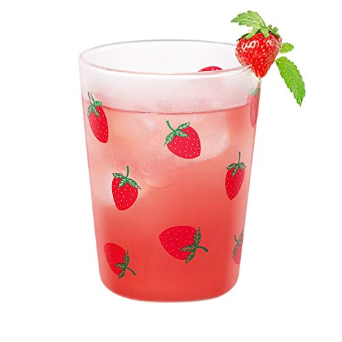 Glas Teetasse, ANSUG 400ml Trinkgläser Becher Milch Glas Tasse süßes Erdbeergeschenk für Kinder, Küche, Tee, Milch, Bier, Saft, Wasser