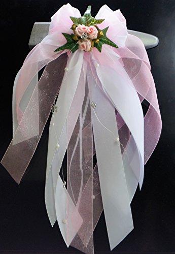 Kirchenschmuck Kirchbankschleife Stuhlschleife Hochzeit KS0017 weiss rosa