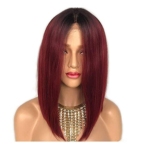 14 inch Lace Front Hair Wine Red pruik Vrouw Chemical Fiber Pre-kant pruik kort steil haar pruik Cover for Women