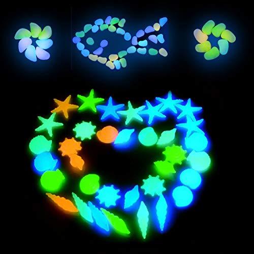 Keleily Kieselsteine Garten Bunt 90Stk Leuchtende Steine Aquarium Leuchtkieselsteine Leucht Steine Deko Nachtleuchtende Steine für Gehwege, Blumentopf, Hinterhof, Auffahrt, Muschel, Seestern, Muschel