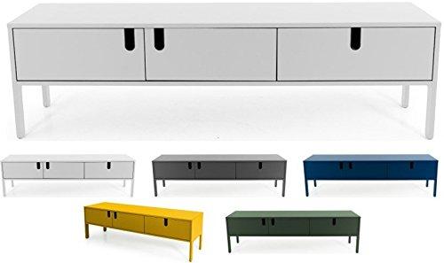 tenzo 8571-001 UNO Designer Buffet Bas 2 Portes, 1 tiroir, Blanc, MDF Particules ép. 19 et 16 mm Panneau arrière laqué. Poignées en matière Plastique, 50 x 171 x 46 cm (HxLxP)