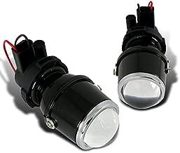 Spec-D Tuning LFP-RND3-WQ H3 12V 55W Halogen Bulb Glass Lens Metal Housing Projector Fog Lights Pair