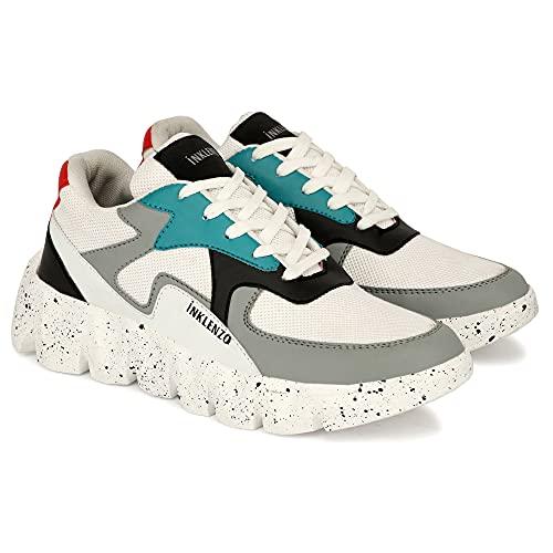 Inklenz Mens White Multicolour Sneakers Dancing Gym Shoe for Men Shoe for boy Walking Dancing