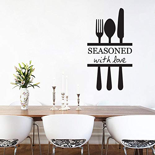 Küche Home Decor Abnehmbare Gabel Messer Wandtattoo Restaurant Dekoration Abnehmbare Wandkunst Tapete Malerei Hot Wall Sticker42X77CM