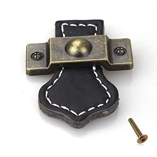 10x Tirador para puerta de muebles Tirador de cuero con tirador para puertas Armarios Armarios con tornillos de 22 mm, agujero único-Negro
