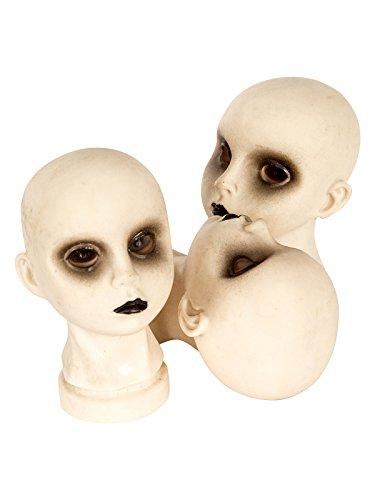 KULTFAKTOR GmbH Schaurige Puppen-Köpfe Halloween-Deko 3 Stück Weiss 11x9x14cm Einheitsgröße