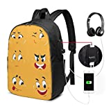 asfg Resistente a Las Manchas Fashion Mini USB Charging Laptop Backpack, Lightweight Travel Waterproof School Backpack for Women/Girls/Business (Funny Cartoon Faces)