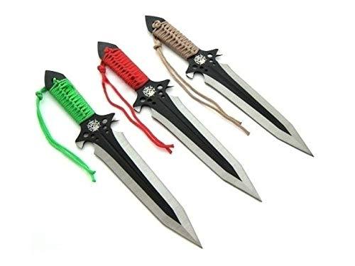 KOSxBO® Set 3er Coloured Darts Wurfmesser Skull Edition hochwertige Kunai Messer inkl Nylon Scheide und Gürtelclip