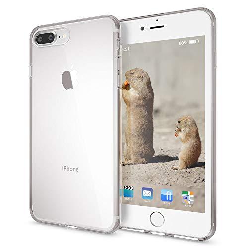 NALIA Custodia compatibile con iPhone 8 Plus / 7 Plus, Protezione Ultra-Slim Cover Case Protettiva Trasparente Morbido Cellulare in Silicone Gel, Gomma Clear Bumper Sottile - Trasparente