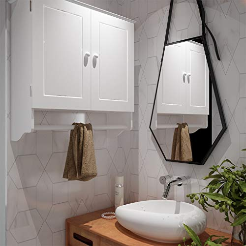[US Stock] Home Bathroom Wall Cabinet Hanging Storage Cabinet with Rod and Adjustable Shelf
