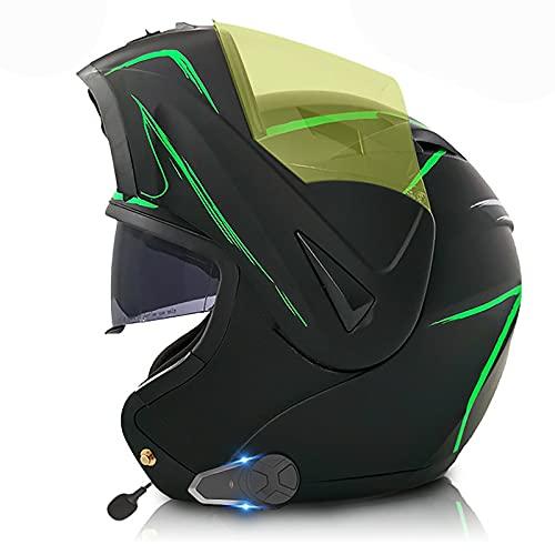 Casco de Motocicleta con Bluetooth Integrado,Cascos Modulares Intercomunicador FM MP3 Incorporado Sistema de comunicación para Casco Modular con Doble Visera Certificado ECE/Dot K,M=57~58cm