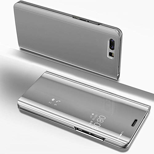 Herbests Hülle Kompatibel mit Huawei P Smart Spiegel Handyhülle Ledertasche Überzug Mirror Case Clear View Flip Cover Hülle Bookstyle Handyhülle Lederhülle mit Standfunktion,Silber