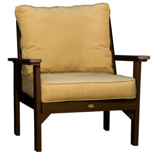 Hot Sale Highwood Pocono Deep Seating Armchair, Weathered Acorn with Sunbrella Dupione Bamboo Cushions