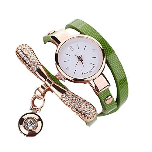 fregthf Mujeres Ronda de Cuarzo del Reloj de la Pulsera del Reloj analógico con Ultra-Delgada de Metal Brazalete Verde