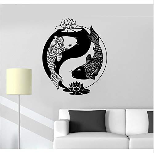 Pbbzl Nouvelle Maison Vinyle Autocollant Yin Yang Tai Lotus Philosophie Chinoise Zen Poisson Sticker Mural 48X57Cm