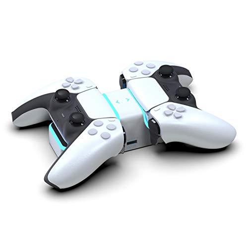 Kathrin Estación de carga rápida para PS5 con indicador LED, estación de carga rápida inalámbrica doble para accesorios Dualsense, perfecta para Playstation 5 – Pearl White Edition