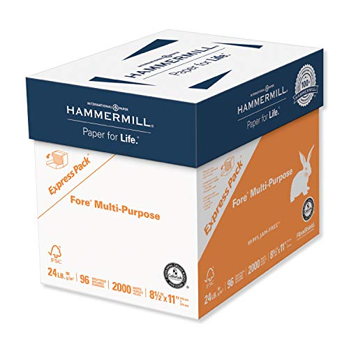 Hammermill Printer Paper, Fore Multipurpose 24 lb Copy Paper, 8.5 x 11 - Express Pack (2,000 Sheets) - 96 Bright, Made in the USA, 163122