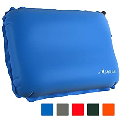 MalloMe Inflatable Camping Travel Pillow - Backpacking Camp Pillows for Sleeping Bag Pad - Small Mini Air Size Ultralight Inflating Compressible Compact Portable Gear Accessories Hiking Blue