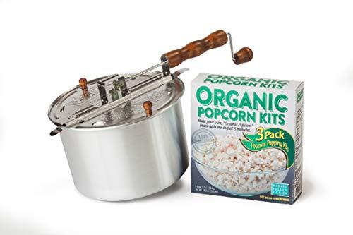 4 Piece DIY Organic Popcorn Kit Featuring the Original Whirley Pop Set
