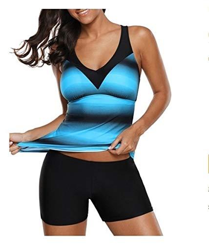 Cool Plus Size Womens Striped Print Crop Top badpak met Half Shorts Sporty Badpak Beachwear for Zwemmer Zwemmen Wear Sun protection (Color : 1, Size : XXL)
