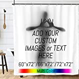 Custom Shower Curtain Liner Customize Waterproof Bathroom Shower Curtains Hooks Personalized Backdrop Bathtub Curtain Add Your Own Design Image Photo Text Bath Curtain Set with 12 Rings 72×72 inch