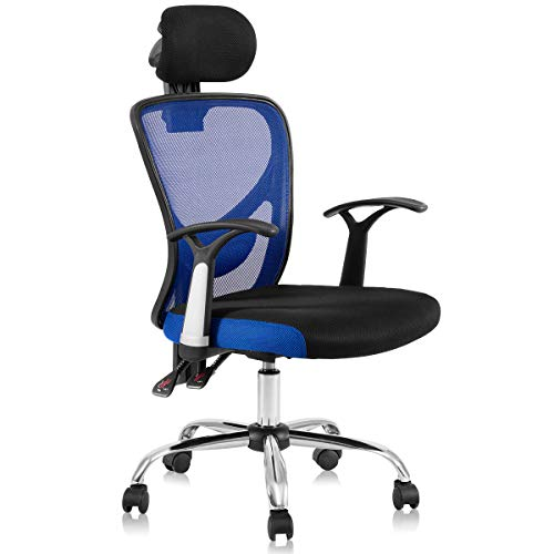 Giantex High Back Mesh Office Chair with Adjustable Headrest and Tilt-Down Backrest, Ergonomic Breathable Computer Desk Chair for Home Office, Executive Mesh Task Chair (Blue)