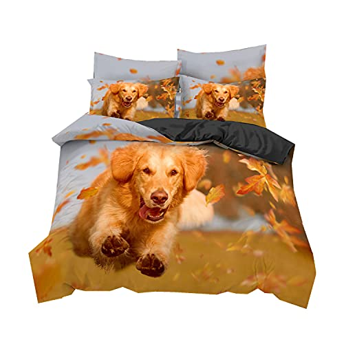 Animal 3D Juego de Cama Amarillo Naranja Hojas de Otoño Funda Nórdica Dog Microfibra Husky Pastor Golden Retriever Hoja de Arce Funda de Edredón (Color1, 150x210 cm,Cama 90 cm)