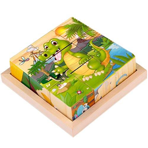 Exceart Dieren Kubus Puzzel Houten Blok Legpuzzels Zeszijdige Bouwpuzzel Educatief Voorschools Leren Speelgoed Voor Peuters Kinderen Dinosaurus