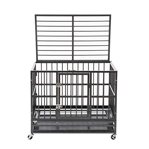 Sliverylake XL 37' Dog Cage Crate Kennel - Heavy Duty Double Door Pet Cage w/Metal Tray Wheels Exercise Playpen (37', Sliver)