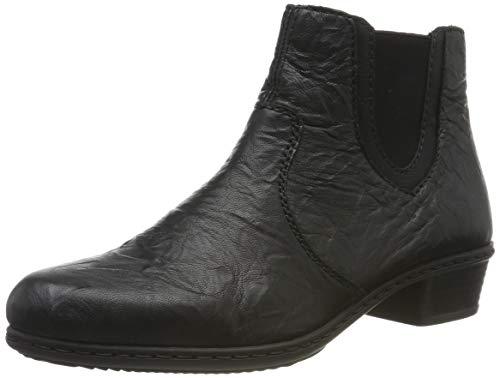 Rieker Damen Y0778-01 Chelsea Boots, Schwarz (Schwarz/Schwarz 01), 38 EU