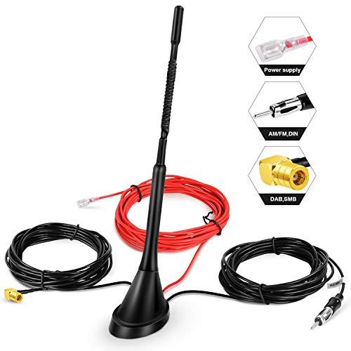 Antena de Coche Dab, Adaptador SMB Techo Universal Receptor de señal de Radio Digital Amplificador de Refuerzo FM Am/Dab + Radio Pioneer, Blaupunkt, Clarion, JVC