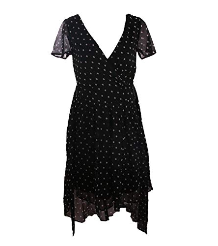 vivance colletion Tupfen-Kleid gemütliches Damen Sommer-Kleid Wickel-Kleid Freizeit-Kleid im Vokuhila-Style Schwarz/Weiß, Größe:38
