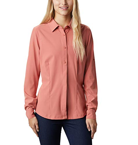 Columbia Damen, Saturday Trail, Langärmelige Bluse, Stretchmaterial, Korallenrot (Dark Coral), XL