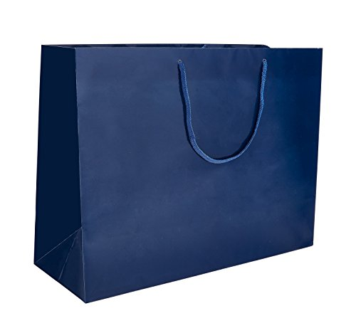 """PTP BAGS Blue Navy Gloss 13"""" x 5"""" x 10"""" Euro Tote Bags [Pack of 100] Reusable Paper Gift Euro Tote"""