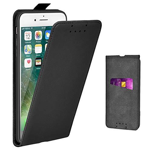 Adicase iPhone 7 Plus Hülle Leder Tasche für Apple iPhone 7 Plus / 8 Plus 5,5 Zoll Handyhülle Flip Hülle Schutzhülle (Schwarz)