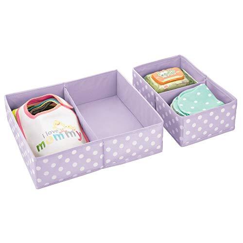 mDesign Juego de 2 cajas para guardar ropa – Práctico organizador de armario en 2 tamaños para los cajones – Bonitas cajas de tela con diseño de puntos – lila/puntos blancos