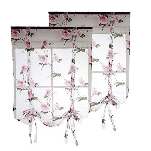 freneci 2x Floral Tulle Voile Door Window,Roman Curtain Sheer Rod Tab Top Window Voile Drape 32x40''