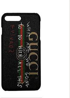 Elegant Luxury PU Leather Monogram Logo Design Pattern Cover Case iPhone 7 8 7 Plus 8 Plus X - Black (For iPhone 7/8 Plus)