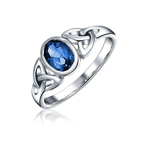Bling Jewelry Simulierte Saphir Keltisch Trinity Knot Triquetra Ringe Für Damen 1MM Band 925 Sterling Silber September Geburtsstein