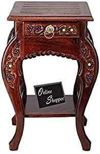 Onlineshoppee Wooden Hand Carved Side Table, Stool Antique Look
